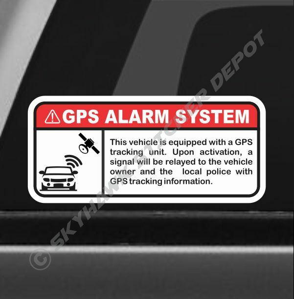Gps Alarm System Warning Sticker Set Vinyl Decal Anti