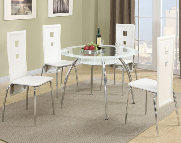 new 5pc tulsa modern round tinted white glass chrome metal dining table set ebay. Black Bedroom Furniture Sets. Home Design Ideas