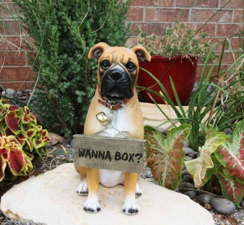 13 25 quot tall large fawn boxer pet dog garden greeter statue with jingle collar ebay