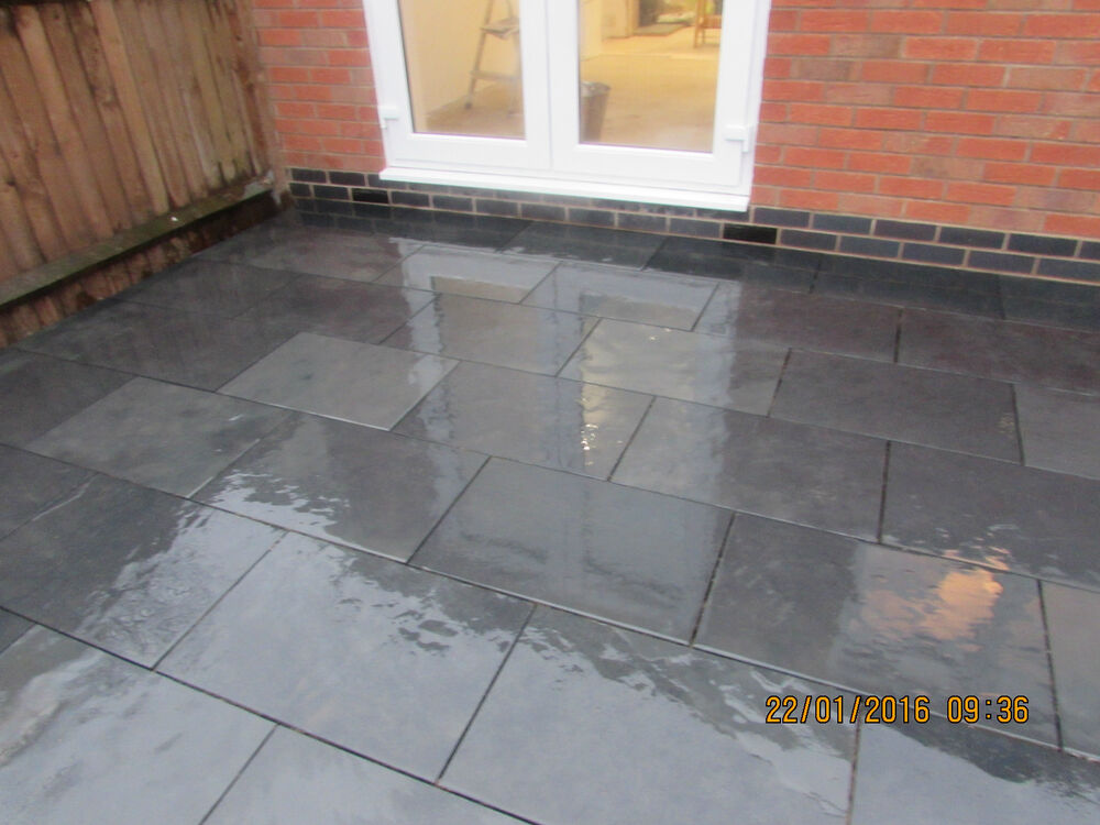 natural black slate paving garden patio slabs 5m2 600x400mm 15 mm thick