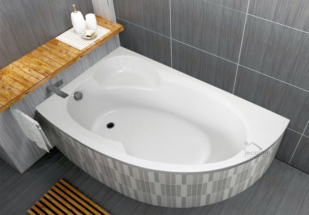 badewanne wanne acryl eck 170 x 100 cm ablaufgarnitur f e silikon ecolam links ebay. Black Bedroom Furniture Sets. Home Design Ideas