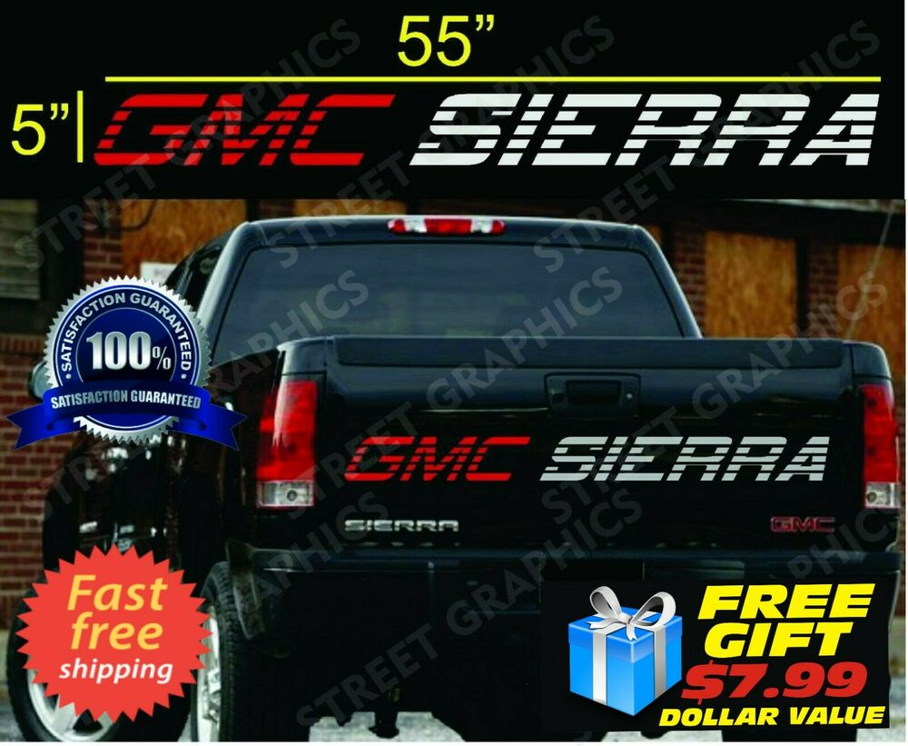 Gmc Sierra Tailgate Vinyl Decal Sticker Red Amp Silver