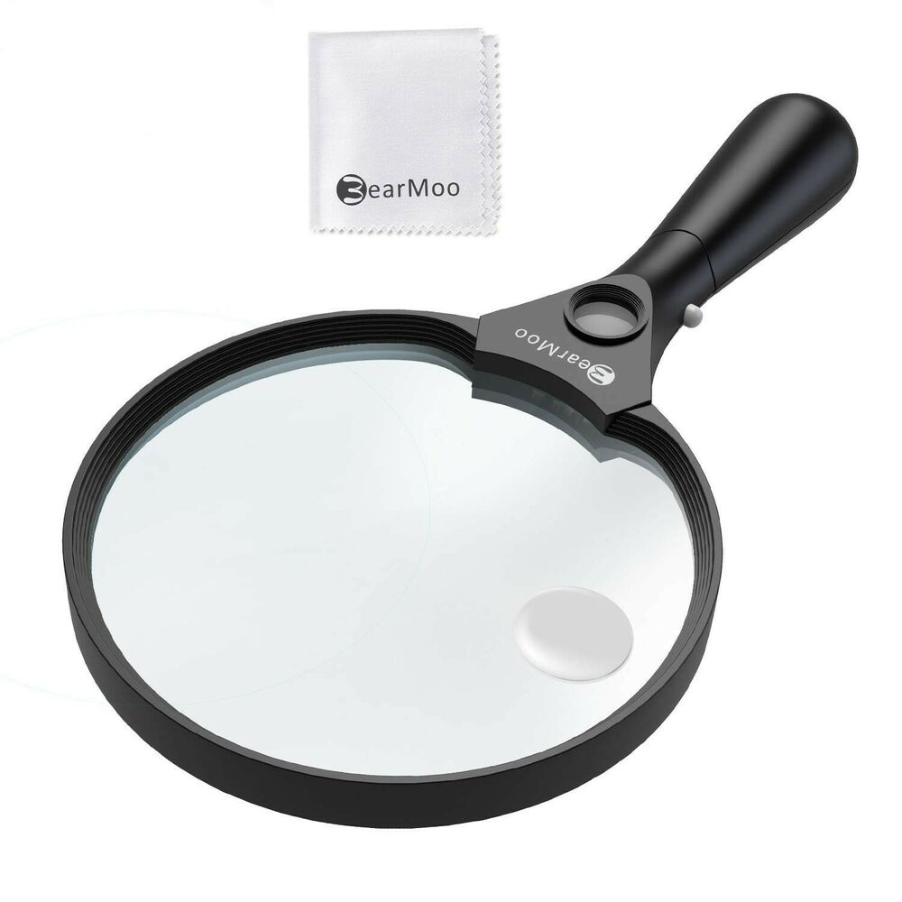 Bearmoo magnifying glass with light handheld 5 5 inch large lens 2x