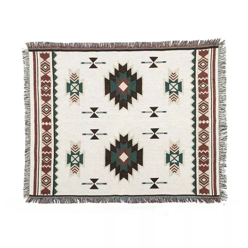 Aztec area rugs cotton tapestry throw blanket lounge decor for Throw rugs for lounge