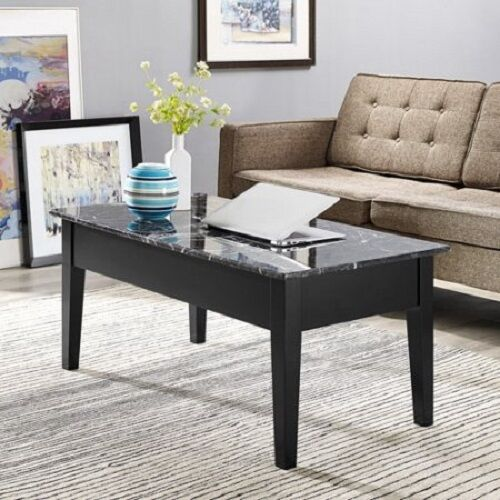 New Faux Marble Lift Top Coffee Table Black Solid Wood With Storage Tray Wood Ebay