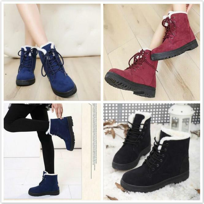 Women Flat Lace Up Fur Lined Winter Warm Martin Boots Snow ...