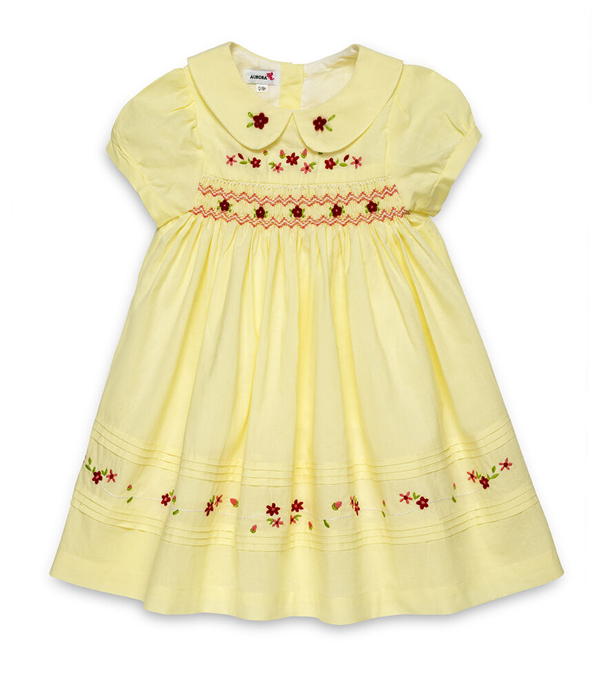 AURORA ROYAL HAND SMOCKED HAND EMBROIDERED VOILE COTTON