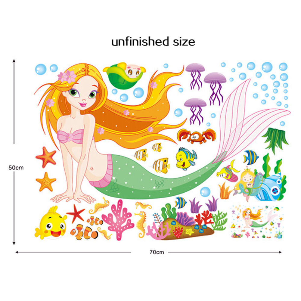 Mermaid cartoon removable decals wall stickers art - Childrens bedroom wall stickers removable ...