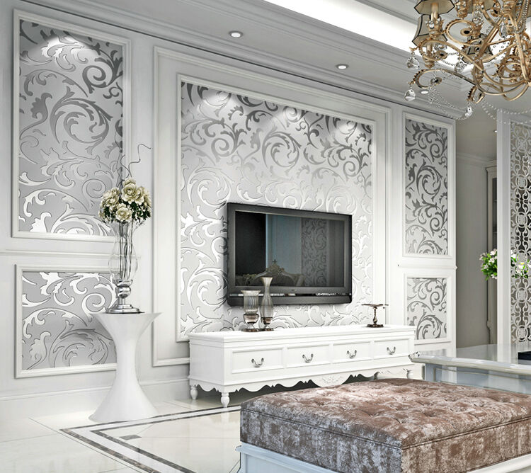 Victorian Mural Wallpaper: 10M Luxury Silver 3D Victorian Damask Embossed Wallpaper