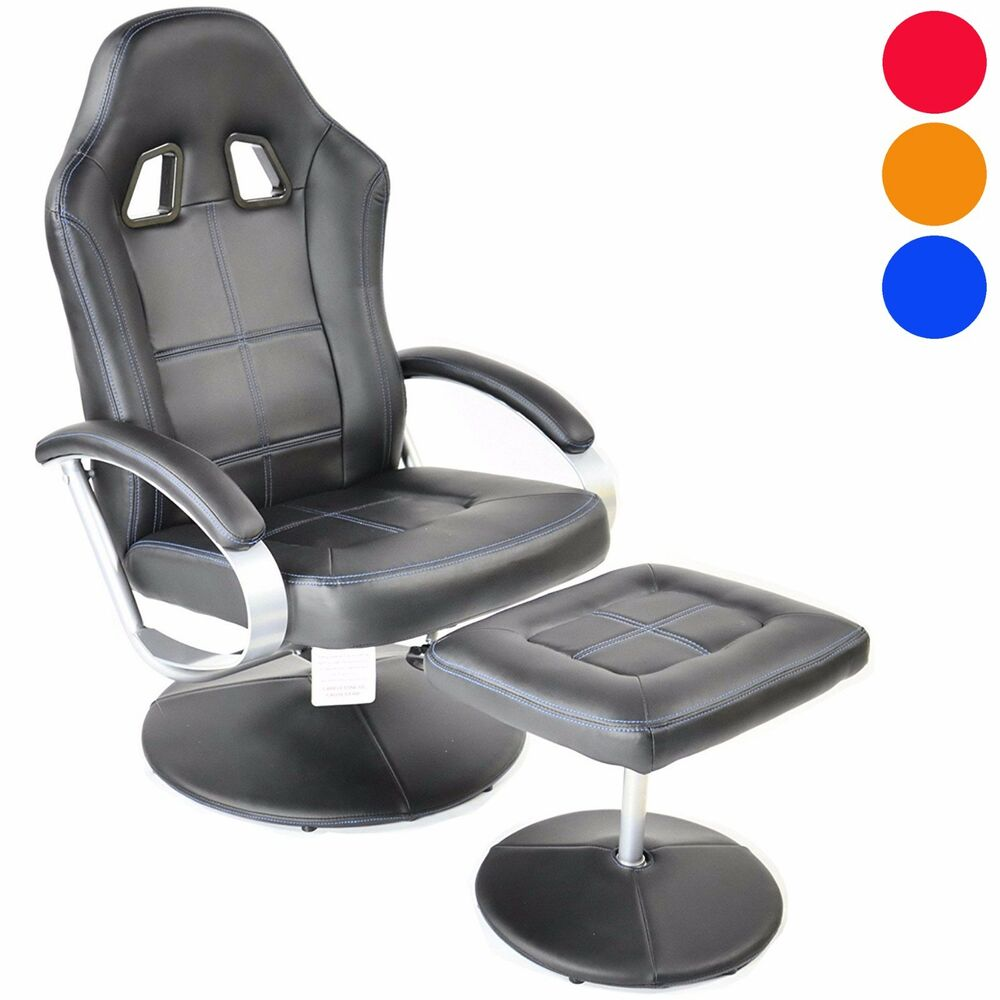 Racing Style Recliner Gaming Chair With Footstool High