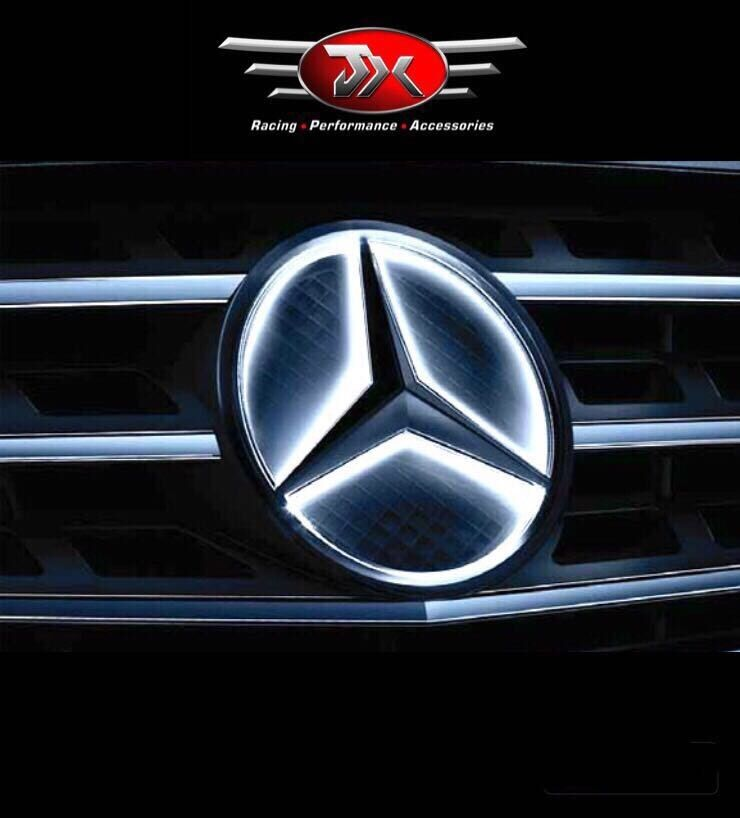 mercedes benz illuminated car front grille star logo