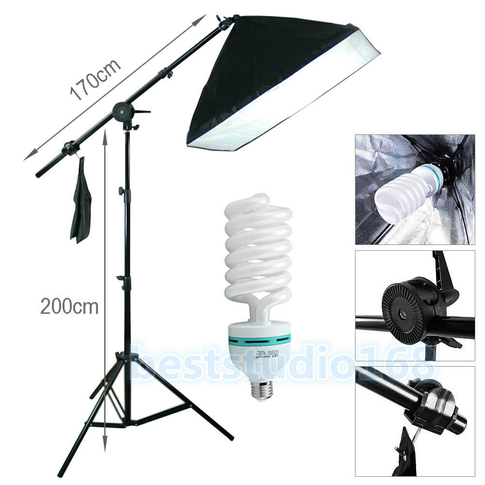 Soft Studio Lighting Kit: Photog Studio Softbox 135W Boom Arm Soft Box Continuous