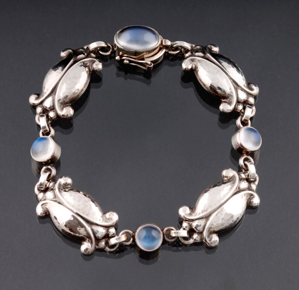 georg jensen sterling bracelet 11 moonstone design by georg jensen himself ebay. Black Bedroom Furniture Sets. Home Design Ideas