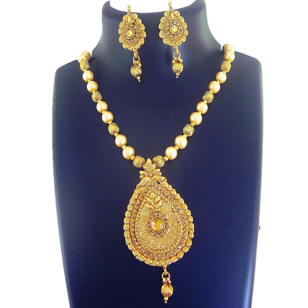 4056 Indian Bridal Jewelry Bollywood New Necklace Ethnic: Ethnic Indian Jewelry Necklace Bridal Gold New Bollywood