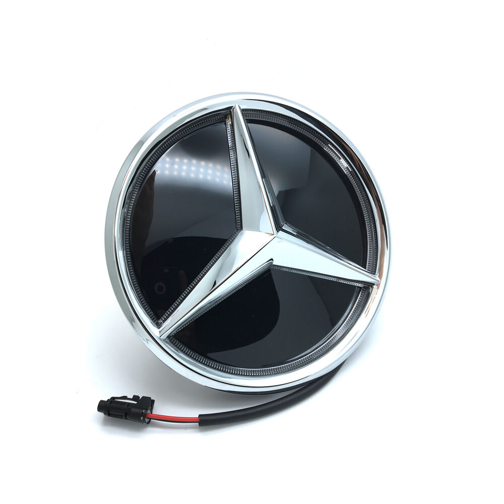 New led light front grille grill mirror star emblem for for Mercedes benz symbol light
