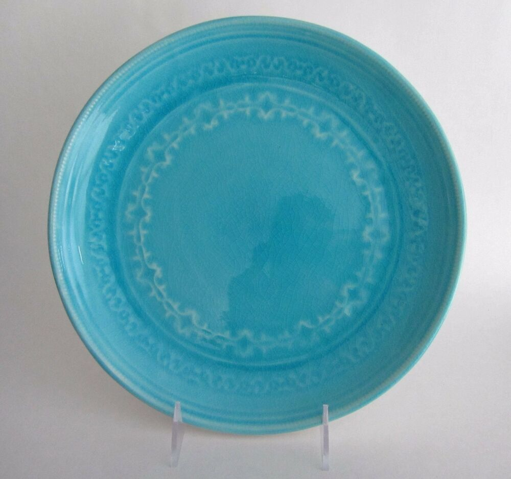 Set 4 Artistic Accents Crackled Glass Turquoise Aqua Blue Stoneware Dinner Plate 671945838630 Ebay