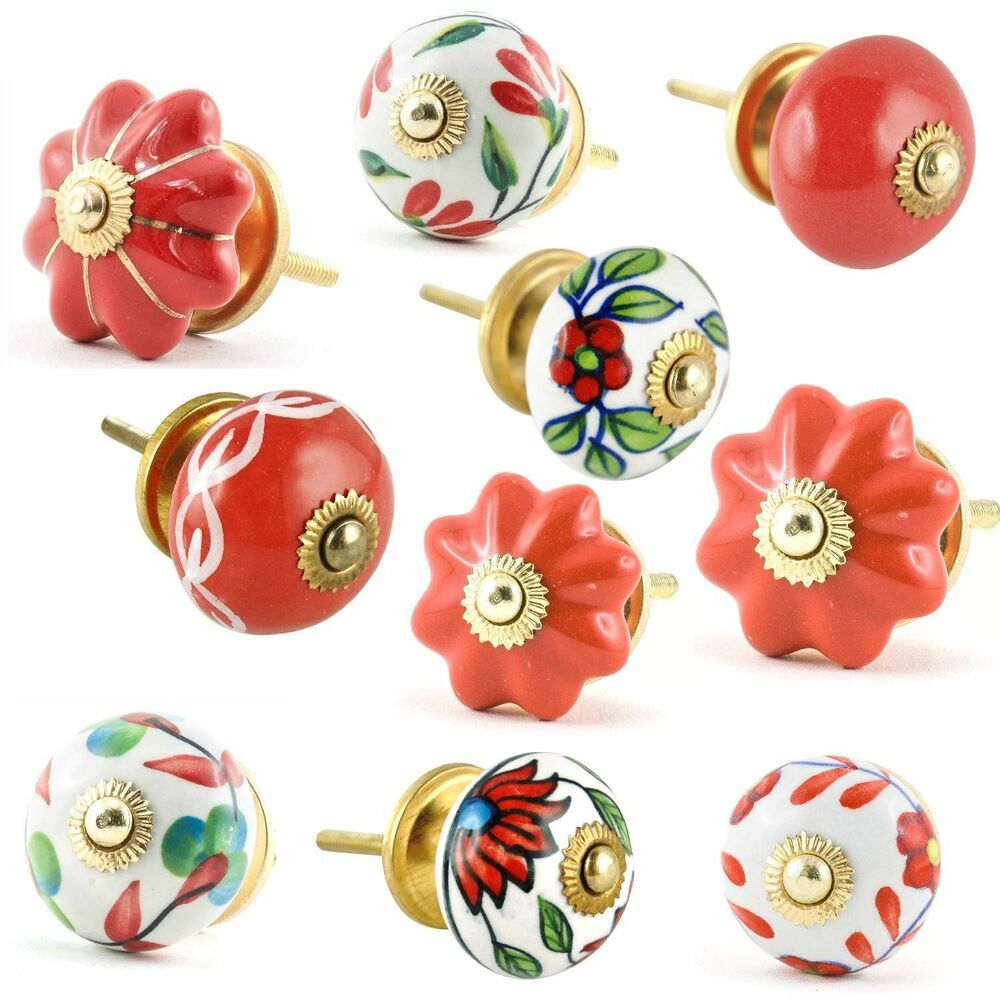 Set of 10 red and white ceramic cupboard cabinet door for Small cabinet pulls