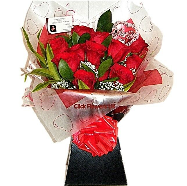 FRESH FLOWERS Delivered UK Premium Large Headed Red Roses Free Flower Delivery