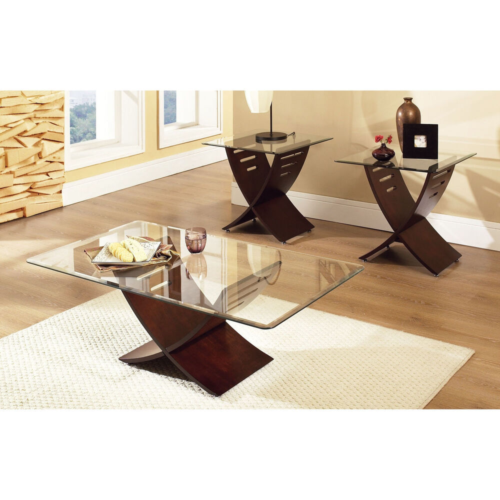 Coffee table set glass wood modern accent rectangular for Living coffee table