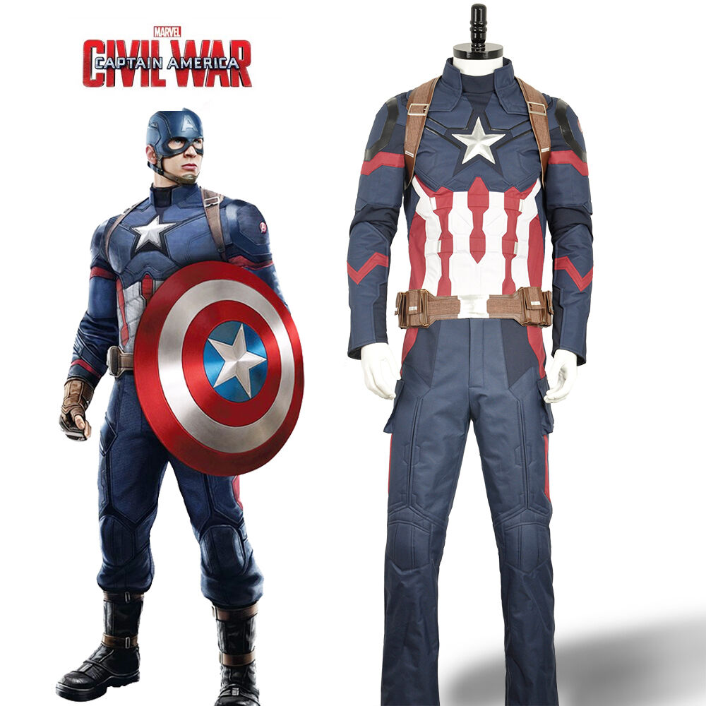 Avengers Captain America Cosplay Costume Civil War Steve Roger Jacket Pants Belt | eBay