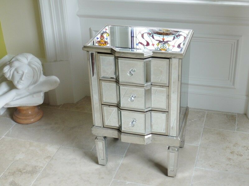 Venetian mirror chest 3 drawer bedside cabinet side table for Mirror bedside cabinets