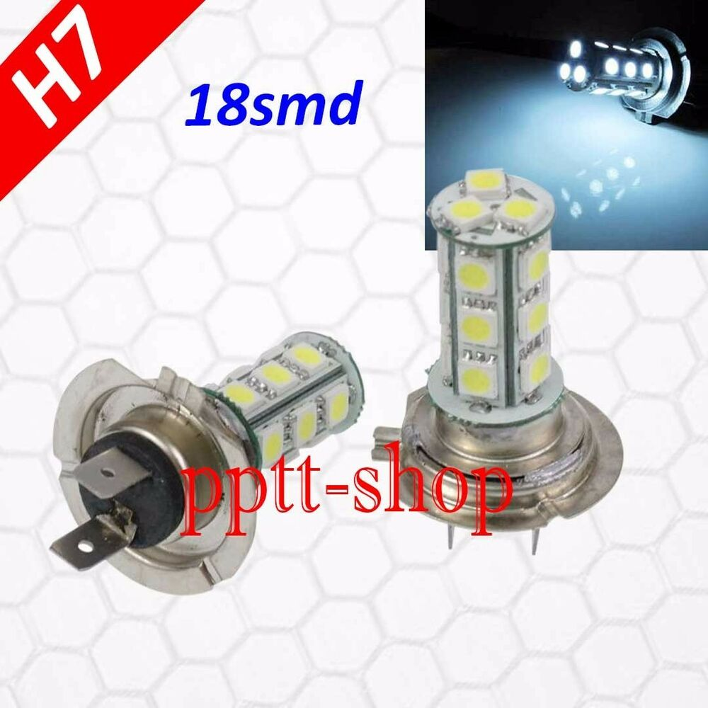 H7 (1 Pair) LED 18 SMD White Xenon 6000K Headlight Light