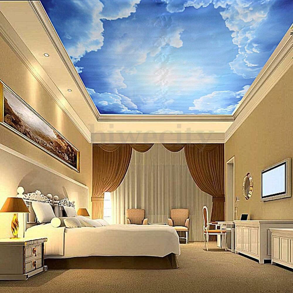 3d blue sky clouds backdrop mural wallpaper ceiling decal for Home wallpaper ebay
