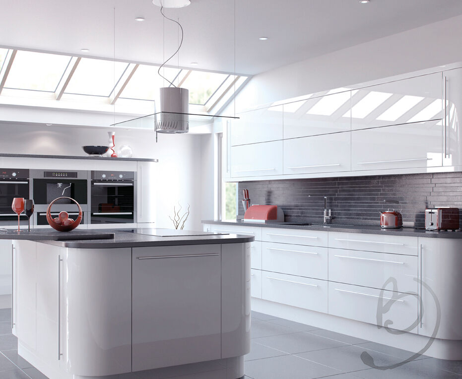 Quality Italian Replacement High Gloss White Kitchen Doors