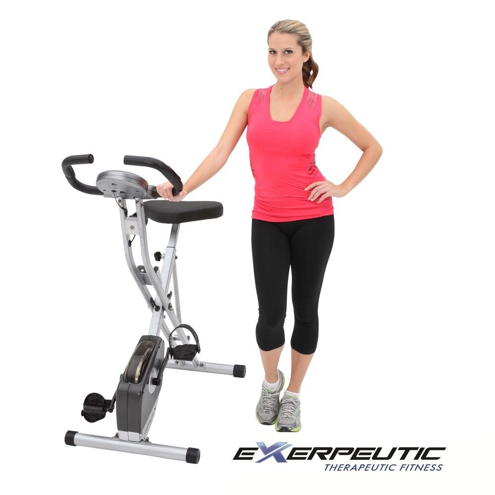 Exerpeutic Folding Stationary Exercise Bike Pulse Monitor