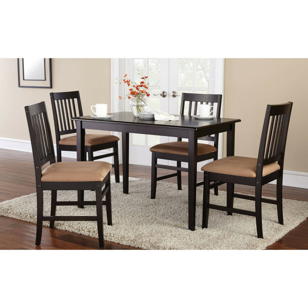 5 piece kitchen dining set wood breakfast furniture 4 for Kitchen dinette sets