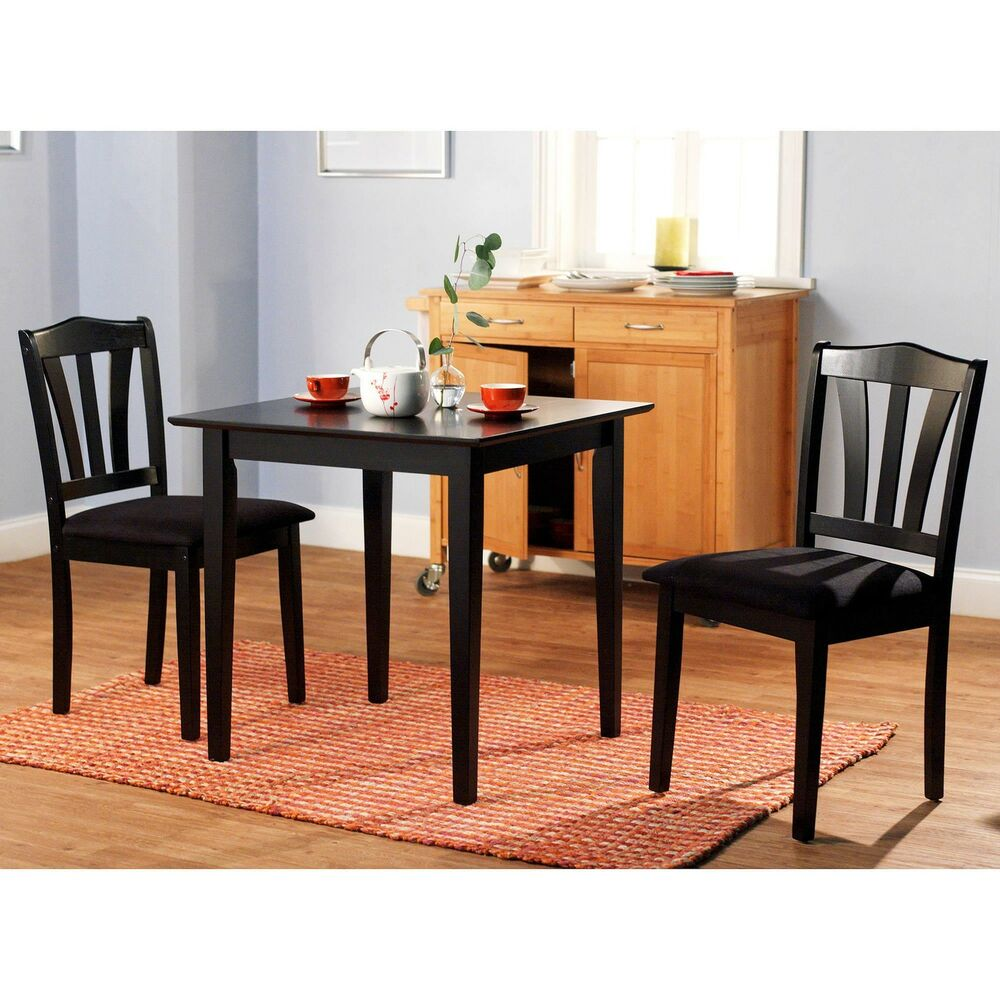 3 piece dining set table 2 chairs kitchen room wood for Dinette furniture