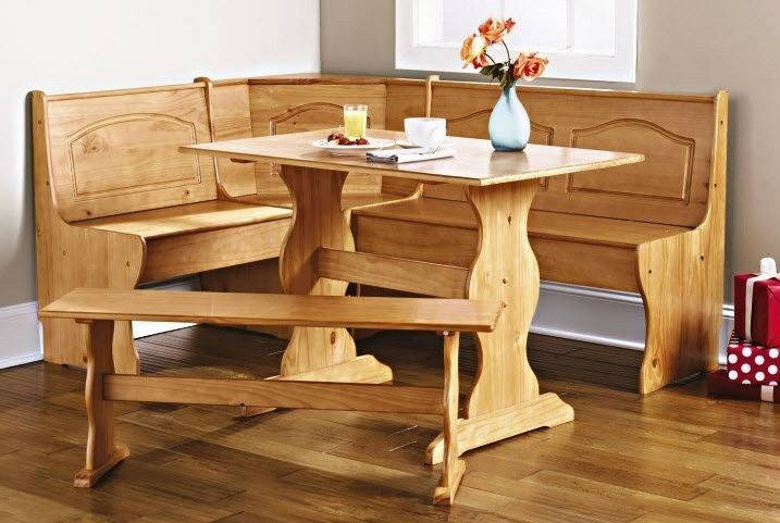 Kitchen nook solid wood corner dining breakfast set table Breakfast nook table