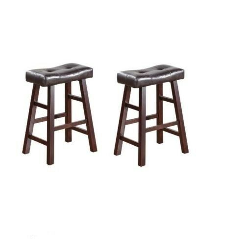 New Faux Leather 2 Set 24 Quot Wood Saddle Bar Stools Counter