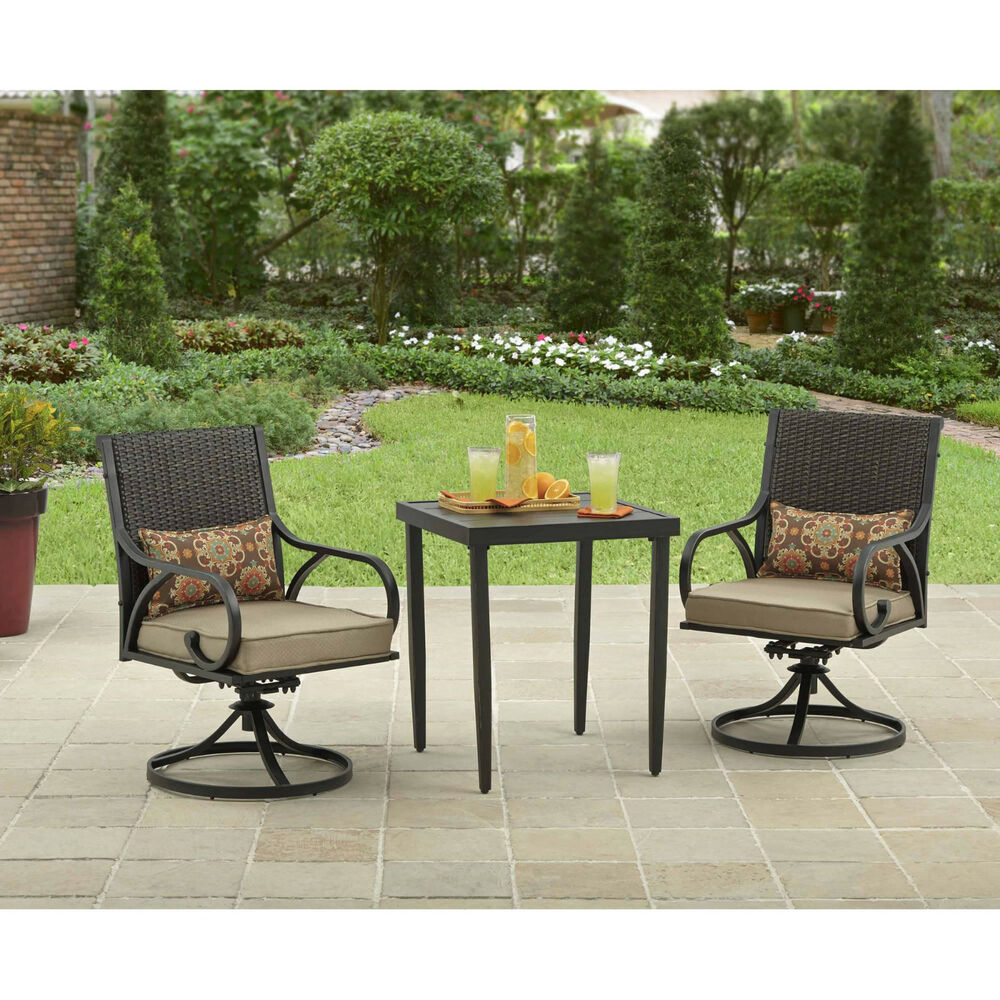 3 piece bistro set swivel rocker chairs with cushions outdoor patio furniture ebay. Black Bedroom Furniture Sets. Home Design Ideas