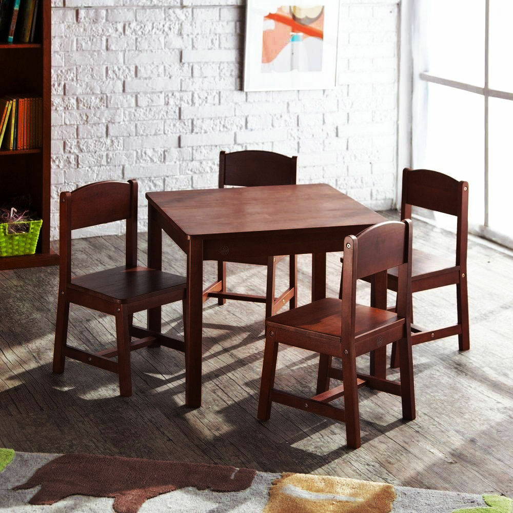 New kidkraft sturdy farmhouse wooden table and chair set for Table and chair set