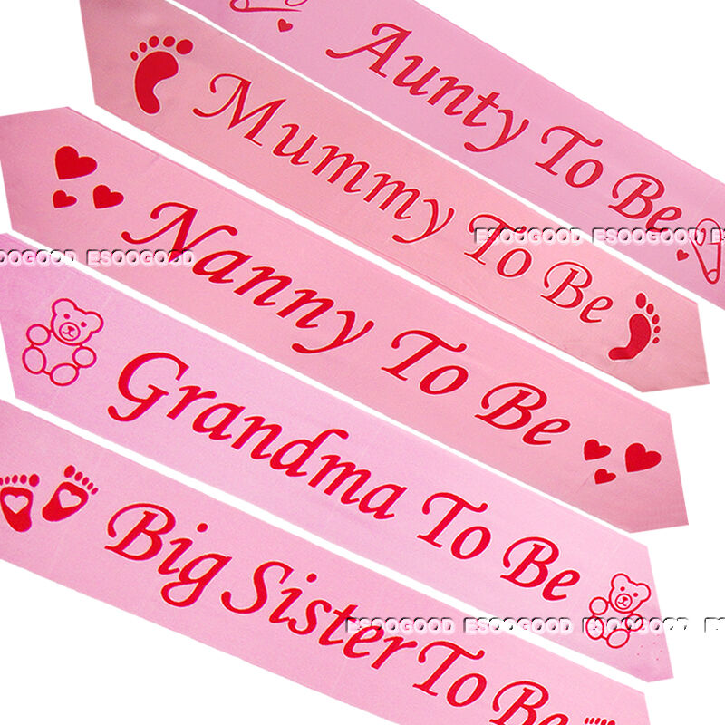 pink baby shower sashes mummy to be nanny aunty big sister