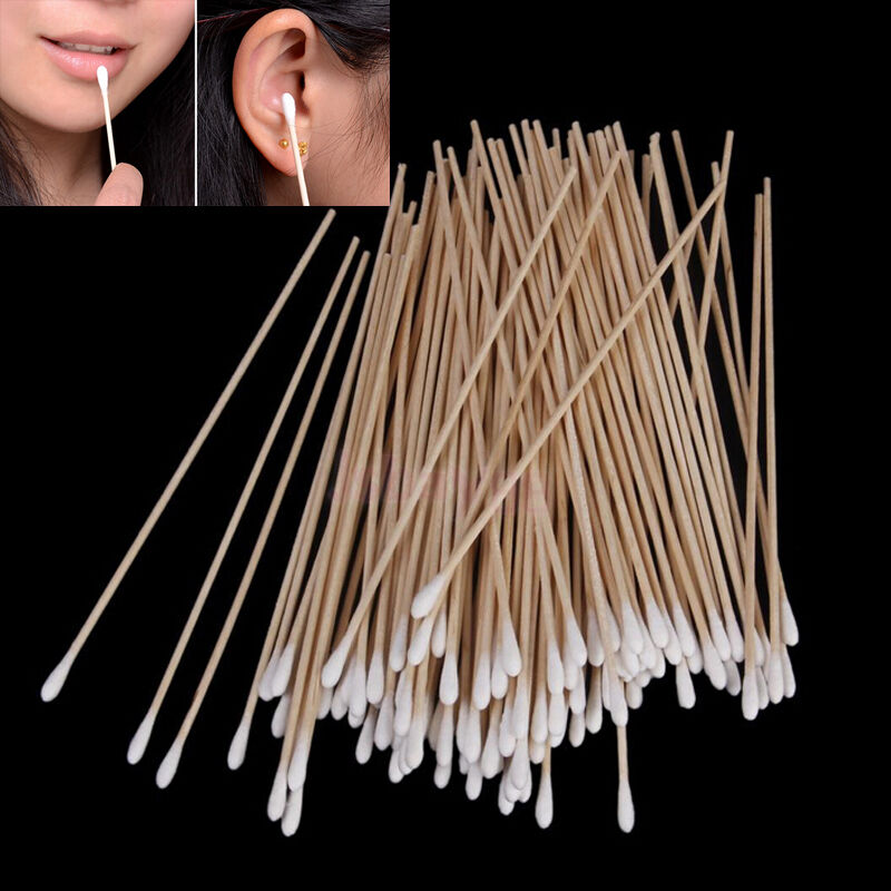 100pcs Medical Swabs 6 Long Wooden Handle Sturdy Cotton