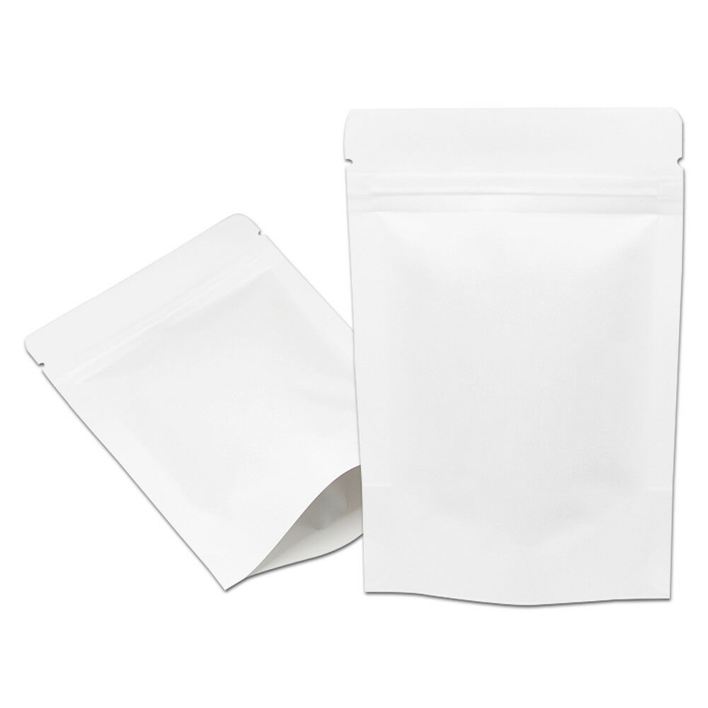 1 To 2000 Pcs Resealable White Stand Up Kraft Paper Food