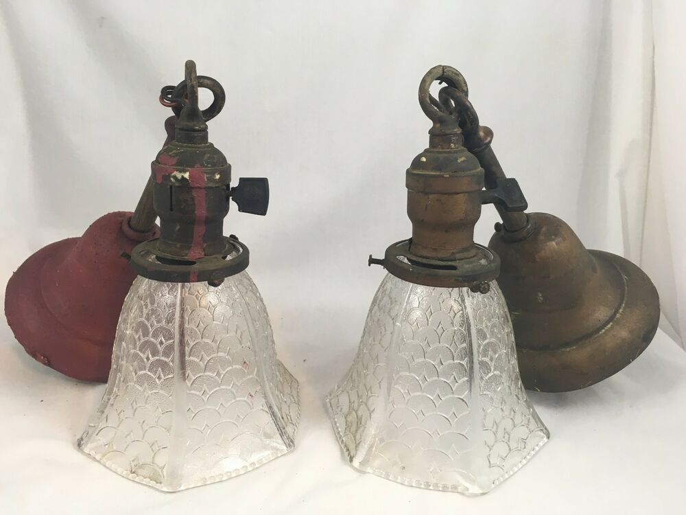 Pair Antique 1900s Pendant Ceiling Light Fixtures VTG 2