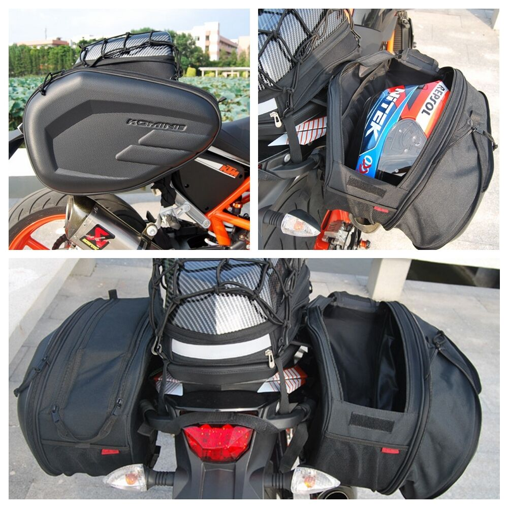 2 side saddle bags package motorcycle bag helmet with for Motor cycle saddle bags