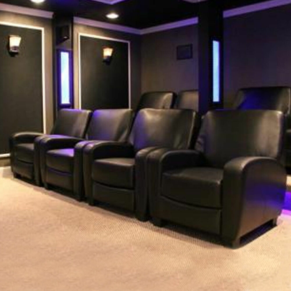 Home Theater Recliner Black Faux Leather Lounge Club Chair Movie Theatre Seats Ebay