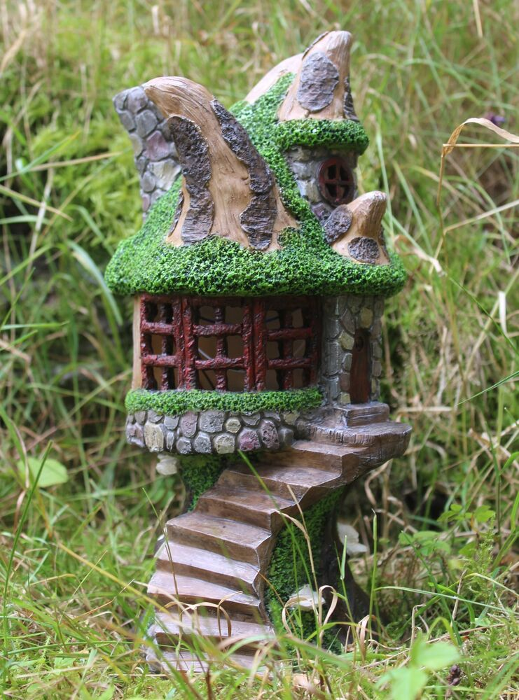 Solar powered decorative secret fairy garden ornament tree for Outside house ornaments