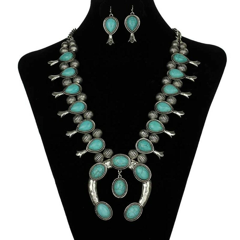 Nice Squash Blossom Necklace Set Antiqued Silver Turquoise Fashion Jewelry Ebay