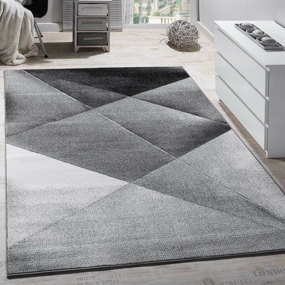 Black And White Rug Ebay Uk: Modern Large Rug Grey Silver Black Carpet Living Room Art
