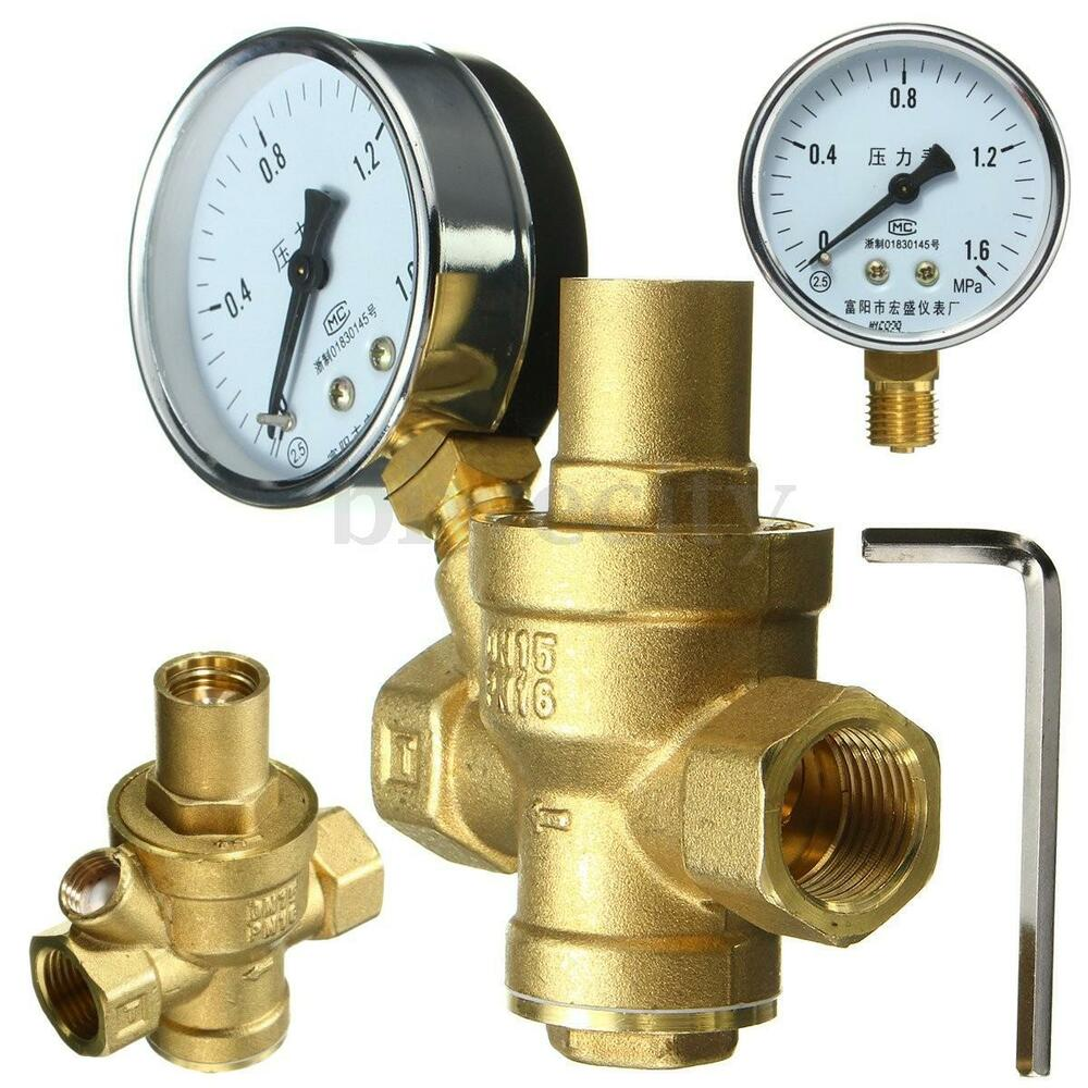 dn15 1 2 39 39 bspp brass water pressure reducing valve with gauge flow adjustable ebay. Black Bedroom Furniture Sets. Home Design Ideas