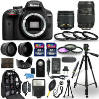 Nikon D3400 24.2MP Camera w/18-55 & 70-300 Lenses + 30 Piece Accessory