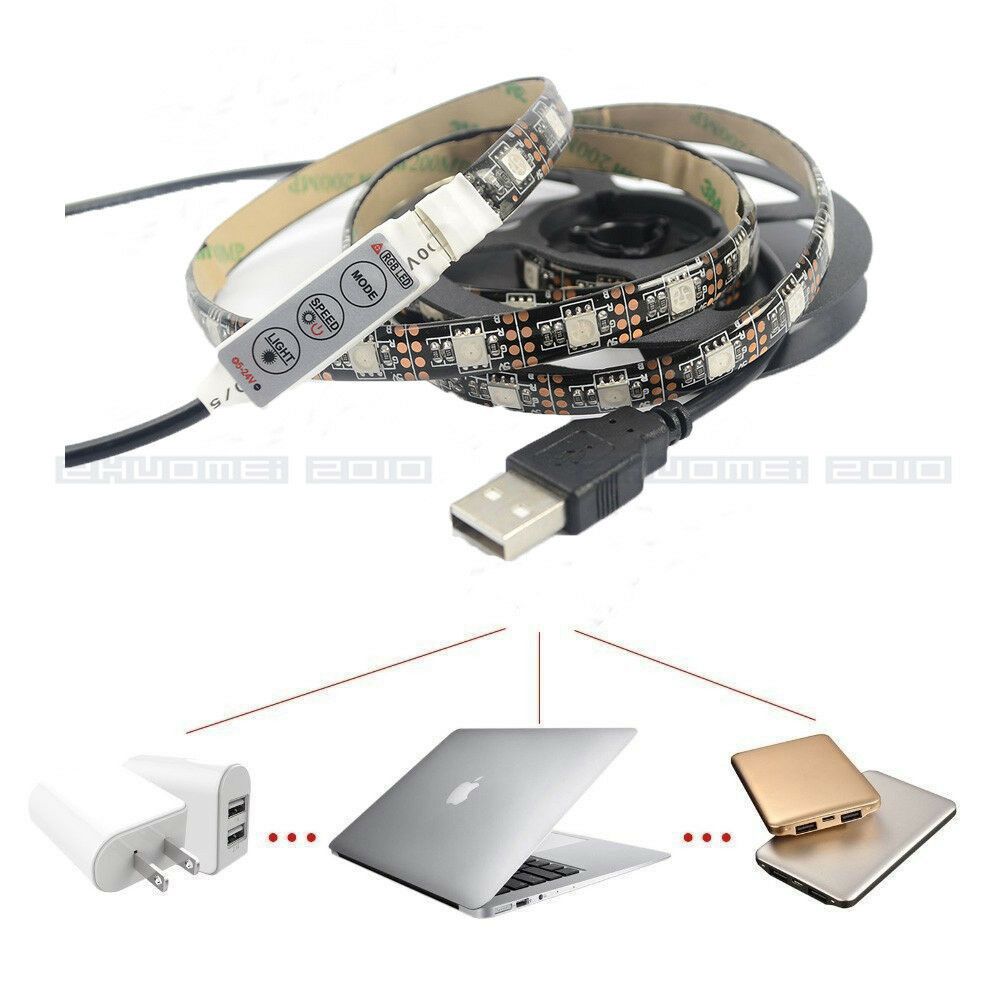 waterproof rgb white led strip light tv background lighting kit with usb cable ebay. Black Bedroom Furniture Sets. Home Design Ideas