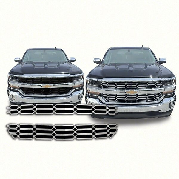 silverado chevy chrome chevrolet grille 1500 overlay lt insert plastic aftermarket parts ls fits wt 2500 qaa abs z71 amazon