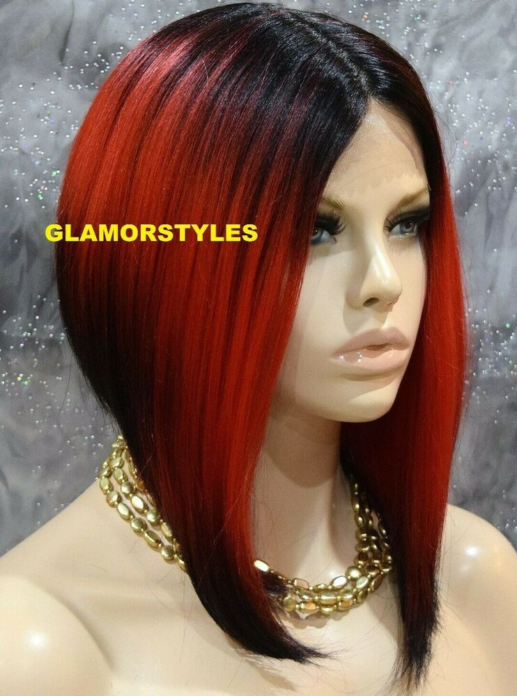 15 Quot Straight Short Bob Black Red Mix Full Lace Front Wig