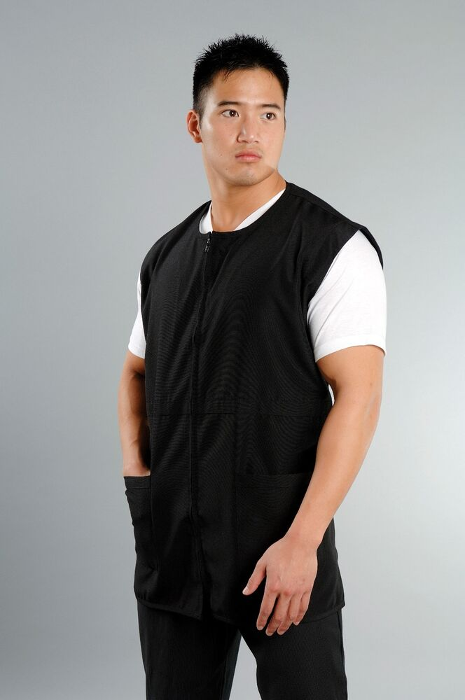 Men s sleeveless black xxl salon wear barber jacket spa for Spa uniform ebay